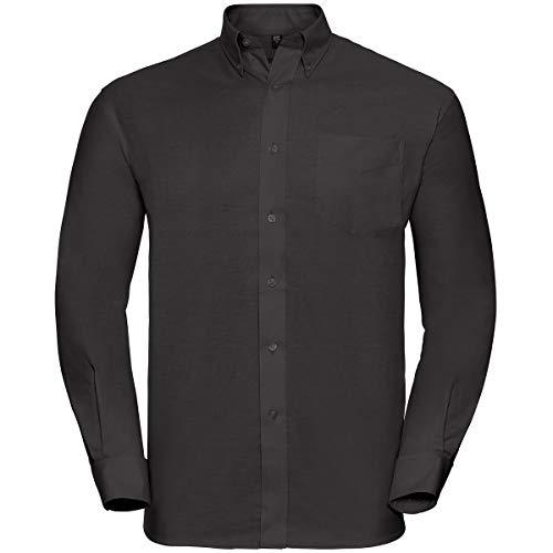 Russell Collection! Pflegeleichtes Langarm Oxford Hemd auch in Übergrößen 5XL / 51/52 / 20,Schwarz