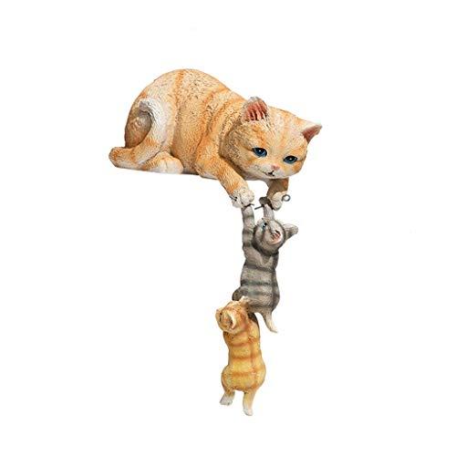 CXJJ Decoración de Escritorio Combinación Decoración Gato, pequeña de Resina Artesanal de Escritorio decoración del hogar Adornos de Escritorio