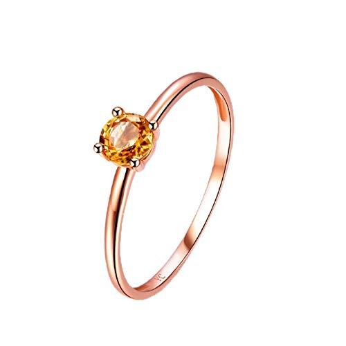 Ubestlove Yellow Sapphire Ring 18K Ring Woman Round Ring Sapphire 0.4Ct J 1/2