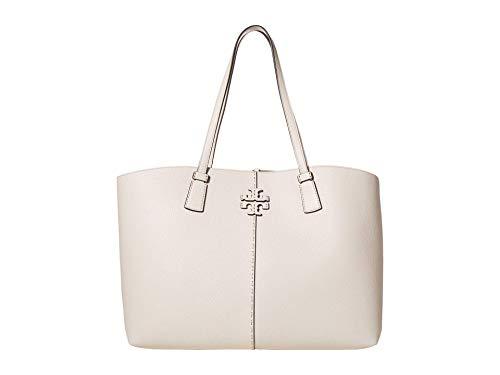 Tory Burch Women's Mcgraw Ivory Leather Top Zip Tote Handbag