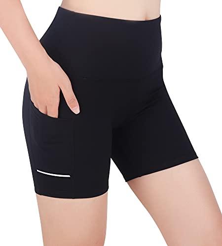 Leggins Cortos Mujer Mallas Cortas Mujer Pantalones Cortos Mujer Deporte Pantalon Corto Deporte Mujer Pantalón Corto Yoga Cintura Alta Ciclismo Correr Bolsillos Laterales Reflectantes (Negro1/3, S)