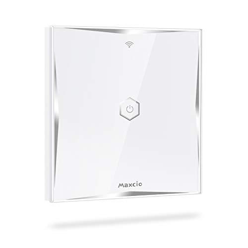 WiFi Interruptor de Luz 2 Vías, Maxcio Conmutador Táctil WiFi Compatible con Alexa Echo/Dot/Tap, Google Home, Interruptor de Pared Inteligente con Temporizador,Se necesita Neutro