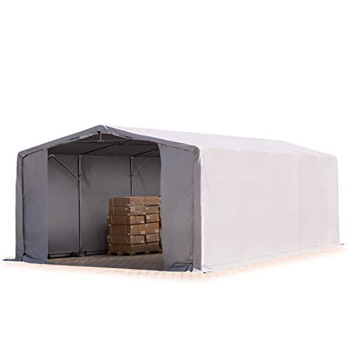 TOOLPORT Zelthalle 8x10m / 4m Seitenhöhe Garage Industriezelt Lagerhalle Plane ca. 550 g/m² PVC wasserdicht in grau