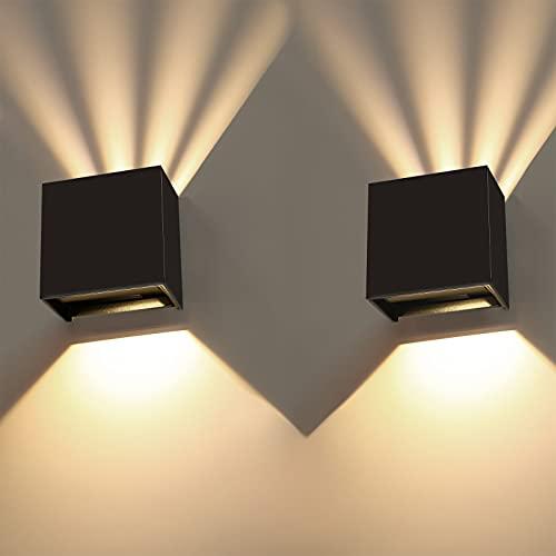 Apliques Pared Exterior/Interior,2 Pcs Led Aplique Pared Blanco Cálido 3000K,IP65 Impermeable Led Lámpara Moderna Pared Ángulo Ajustable Mopara Salon Dormitorio Pasillo Escalera