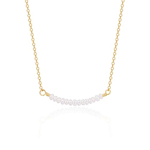 PEARLADA 18K Gold Chain Choker Pearl Beads Bar Pendant Necklace Handmade Adjustable Jewelry for Women Dainty Pearl Beaded Collar Necklace