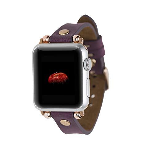 Renna - Pulsera de piel auténtica compatible con Apple Watch Serie SE, 6 y 5/4/3/2/1, hecha a mano, 44 mm, 42 mm, 40 mm, 38 mm, para hombre y mujer (42 – 44 mm, lila mate, conector rojo)