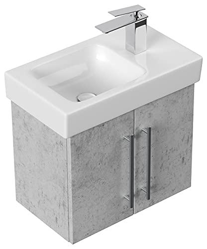 Mobile bagno con lavabo Geberit Icon XS 53cm a destra grigio cemento