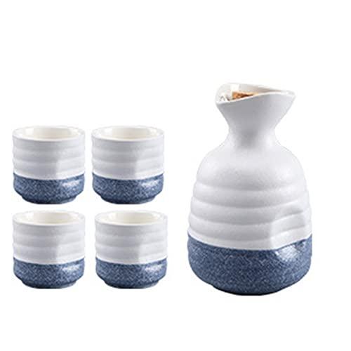 ZAT Set de Sake japonés, Olla de cerámica y Cuatro Tazas, Azul y Rosa. (Color : Blue)