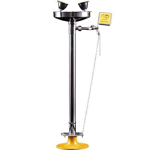 JL Acero Inoxidable 304 Montado en Pedestal Lavaojos de Emergencia con Pedal Agua de Espuma del Grifo para Limpieza de Emergencia