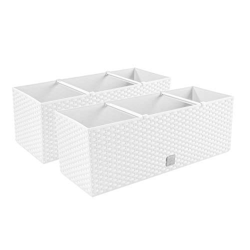 PAFEN 2 en 1 Set 2 x Jardinera de balcón, imitación de ratán, 4 colores, macetero (blanco)