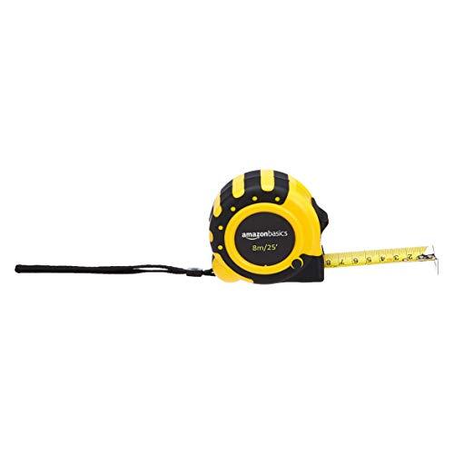 Amazon Basics Tape Measure - 25-Feet (8-Meters), Inch/Metric Scale, 3-Lock Design, MID Accuracy