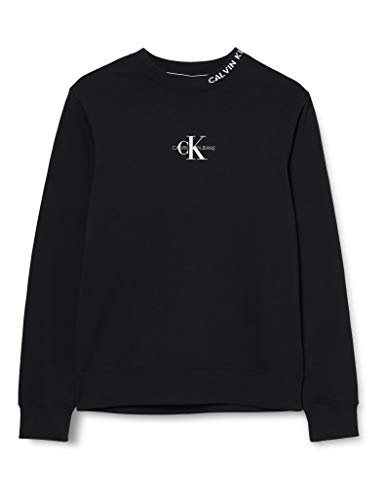 Calvin Klein Jeans Herren Center Monogram Crew Neck Pullover, Black, M
