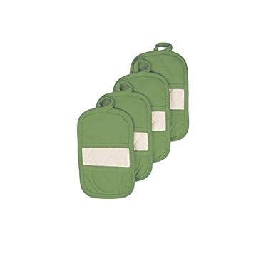 Ritz Royale Collection 100% Cotton Terry Cloth Ritz Mitz, Dual-Function Pot Holder / Oven Mitt Set, 4-Pack, Cactus Green