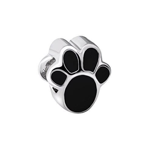 Quiges 925 Sterling Silber 3D Schwarz Emaillierte Hundepfote Ausdruck Charm Bead