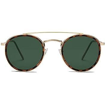 SOJOS Retro Round Polarized Sunglasses UV400 Double Bridge Sun Glasses SUNSET SJ1104 Tortoise/Green