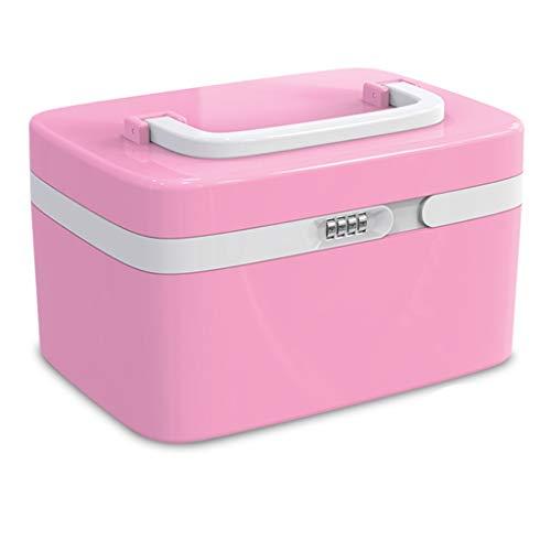QQZQ Outil de Maquillage portatif de Sac de Rangement de Maquillage de Mot de Passe avec Le Cadeau de Femme de Grande capacité de Serrure (Color : Pink, Size : 16.5x19.2x27.8cm)