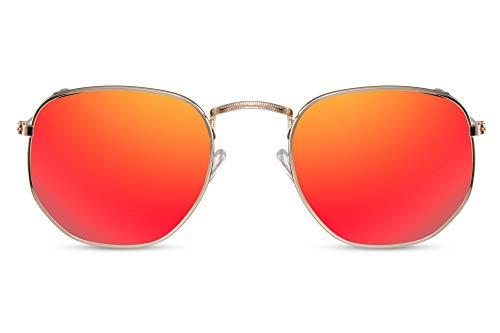 Cheapass Sonnenbrille Rund Verspiegelt Gold Rot UV-400 Lichtschutz Designer-Brille Metall Damen Herren
