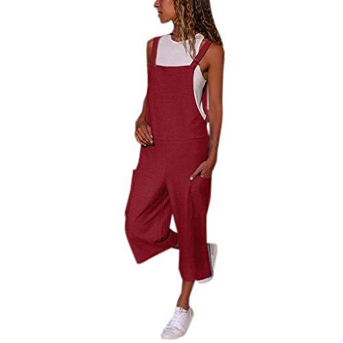 Peto Pantalones de Peto para Mujer STRIR Mujer Baggy Peto Chicas Mono Largo Pantalones Harem Anchos Talla Grande Casual Moda Bolsillos Tiras Fiesta