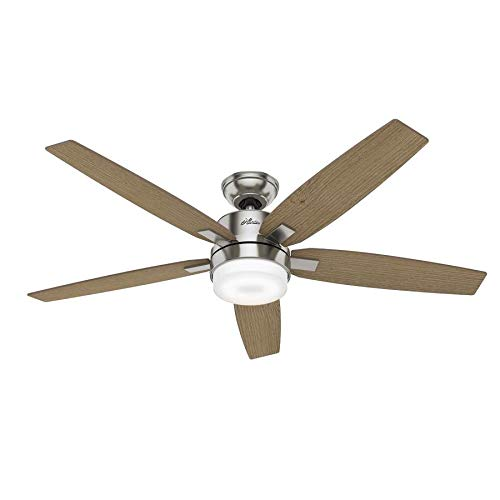 Hunter Windemere II LED 54-in Brushed Nickel Indoor Ceiling Fan with Light Kit and Remote (5-Blade)