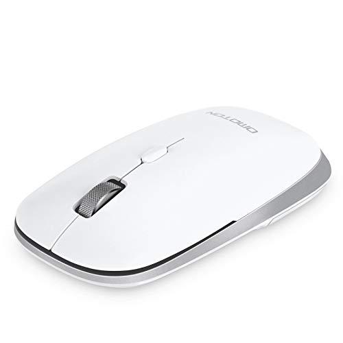 OMOTON Ratón Bluetooth sin Receptor USB, Ratón Inalámbrico Bluetooth 5.0/3.0, Ratón Silencioso, Ratón 1600 dpi para Portátil,  PC y Windows, Blanco
