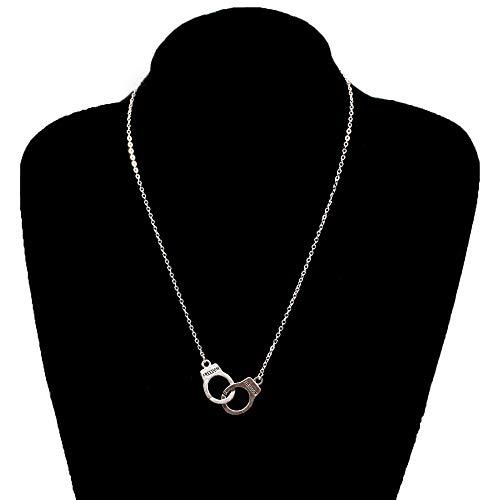 LKHJ Collares, Collar con Colgante de Esposas, Estilo Callejero, Cadena ong, Collares de clavícula para Mujer, joyería de Moda para el Cuello
