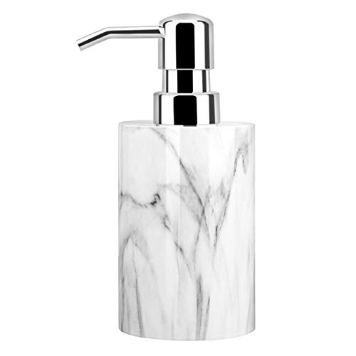Luxspire Soap Dispenser, Cylinder-shaped Marble Lotion Liquid Soap Pump Bottles, Refillable Shampoo Container, Decorative Hand Soap Resin Jar for Bathroom, Kitchen - White Marble