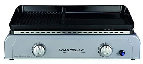 Campingaz Plancha Othello 2 X Twin, Gas Tischgrill, Gastrobräter mit zweigeteilter Grillplatte aus emailliertem Stahl und 2 Brennern, 6 kW Leistung, Tischgriller für mediterranes Grillen a la Plancha