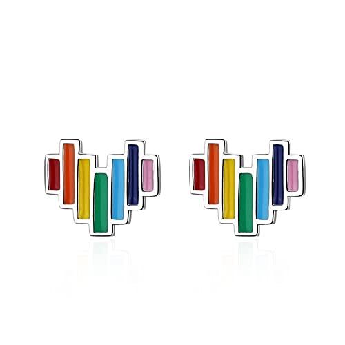 DFDLNL Puños de Oreja para Mujer Pendientes de botón con Forma de corazón de Arco Iris con Pendiente de Esmalte para Mujer