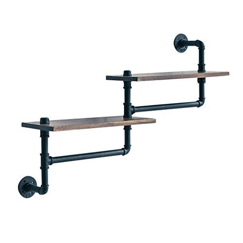 Estantes, 2 capas de hierro forjado de la tubería de agua decoración de Metope estante de pared, montado en la pared, estilo industrial retro de madera maciza de la barra de partición de la flor del soporte