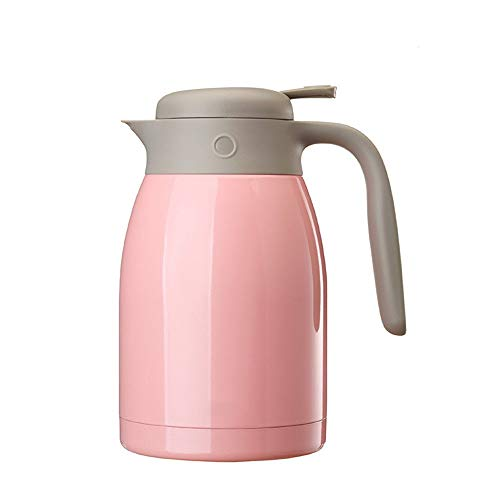 Koffie Thermos RVS thermoskan - Insulated Vacuum Thermal - Pitcher Koffie- Insulation Pot Water Met dekselgreep 1.5L Koffie Thee Sap (Color : Pink, Size : 1.5L)