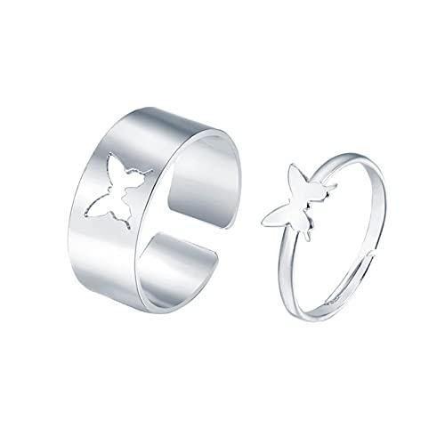 Juego de 2 anillos de mariposa para mujeres y hombres, parejas a juego con el mejor amigo. Modernos anillos de compromiso para jóvenes y niñas, su joya de dedo pulgar chapada en oro ajustable