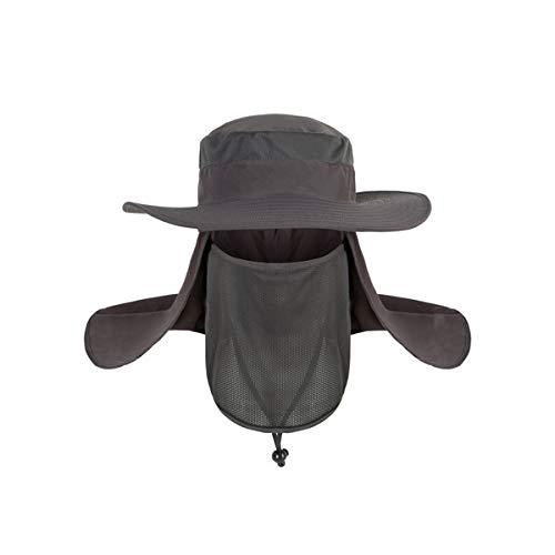 Gshy Casquette de pêche Amovible Anti UV Protection Chapeau De Soleil Multifonction Casquette protège-Nuque pour l'Extérieur Pêche Randonnée Trekking (Gris foncé)
