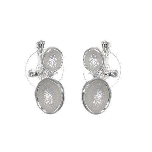 Modernes Modeschmuck: kontrastierende matt und glänzend Silber Zweig und Blätter Ohrstecker (R396Bosch Ba20D Glühbirne Frontscheinwerfer)