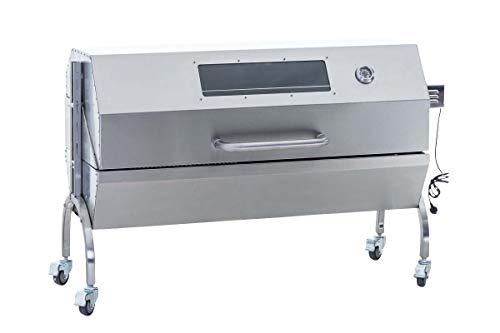 CLP Edelstahl Spanferkel-Grill Maxwell Mit Motor | Holzkohlegrill Mit 2 Grillrosten Mehrere Funktionen | Deckel Mit Temperaturanzeige, Farbe:Silber