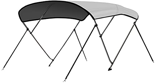 Leader Accessories Light Grey 3 Bow 6'L x 46' H x 54'-60' W Bimini Top Cover 4 Straps for Front and Rear Includes Mounting Hardwares with 1 Inch Aluminum Frame