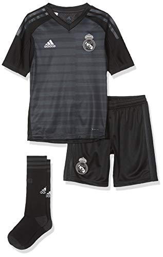 adidas Kinder 18/19 Real Madrid Home-Lfp Badge Torwart Mini-ausrüstung, Black/Carbon, 128
