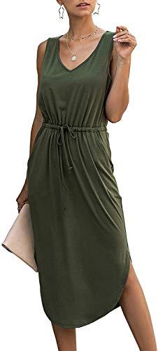 Longwu Mujer Cuello en V sin Mangas sin Mangas con cordón Lateral con Cintura Dividida Vestido de Chaleco a Media Pierna con Bolsillo Verde-M