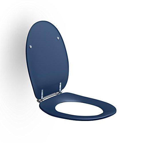 Pressalit R37108-D92999 Dania WC-Sitz blau, Edelstahl Toiletten-Sitz mit Deckel und Spezialscharnier für Senioren, behindertengerecht (Belastbarkeit 250 kg)