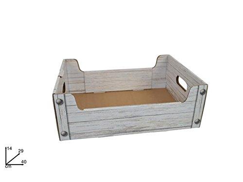 SCATOLA BOX CESTA NATALIZIA MANIGLIA PANDORO BOTTIGLIE CARTONE 40x29 cm BIANCO