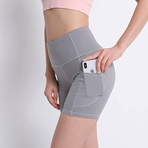 Leggings de mujer pantalones cortos de yoga para mujer deportivos antifracasos ajustados de cintura alta, pantalones de verano delgados de fitness de secado rápido en pantalones de tres cuartos grises