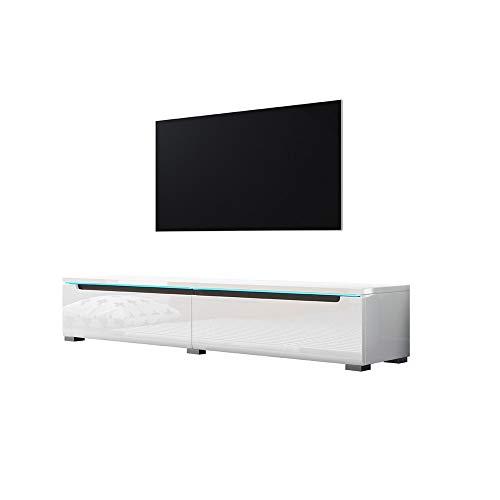 Swift – Fernsehschrank/Tv-Lowboard In Weiß Hochglanz Mit Led Hängend Oder Stehend 140 Cm