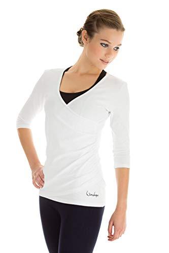 WINSHAPE Damen 3/4-arm in Wickeloptik Fitness Yoga Pilates Freizeit 3 4 arm Shirt, Weiß, S EU