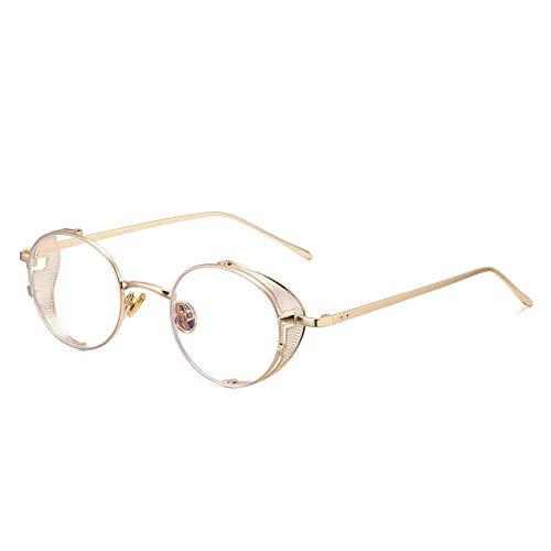 WEIPENG Gafas De Sol Redondas para Mujer, con Montura Metálica, Gafas De Sol Clásicas, Lentes Transparentes para Hombres, Gafas Steampunk, Gafas Retro