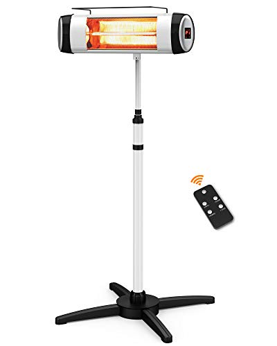 Electric Patio Heater, Outdoor Infrared Heater for Freestanding, Infrared Patio Heater with Remote Control & 24H Auto Shut Off, Super Quiet and Easy to Move