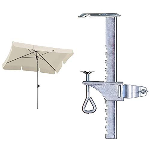Schneider Sonnenschirm Locarno, natur, 180x120 cm rechteckig, Gestell Stahl, Bespannung Polyester, 2.3 kg & Balkonklammer für Sonnenschirme