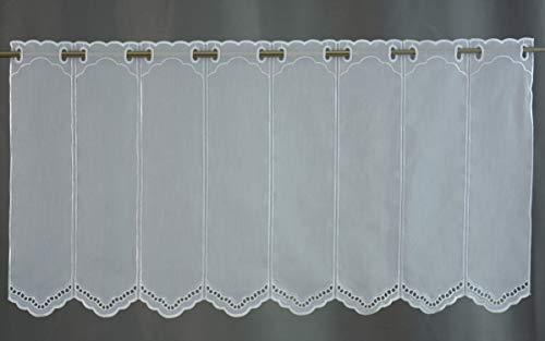 Scheibengardine Borte Lochstickerei weiß Höhe 30/45/60/90 oder 120cm | Breite der Gardine frei wählbar in 10,5cm Schritten | Gardine | Panneaux | (Höhe 45cm)