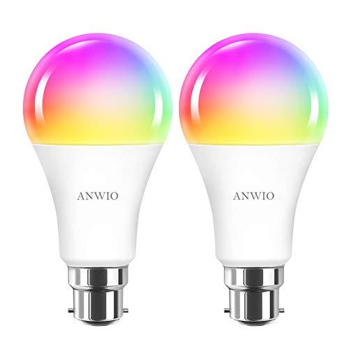 WLAN Smart Alexa Lampe 12W B22 RGB Dimmbare LED Glühbirne A70 steuerbar Kompatibel mit Smartphone Amazon Alexa Google-Startseite 100W Äquivalent Kein Hub erforderlich 2 Stück