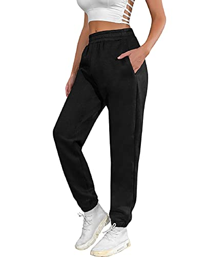 Nadeer Pantalones Chandal Mujer Harem Pantalones de Mujer Jogging con Bolsillos Pantalones Deporte Mujer de Cintura Comodo Llanura Largos EláStica para Deporte Yoga Fitness Jogging Casuale