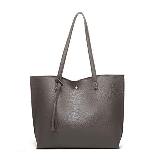 Women's Soft Faux Leather Tote Shoulder Bag from Dreubea, Big Capacity Tassel Handbag Charcoal grey