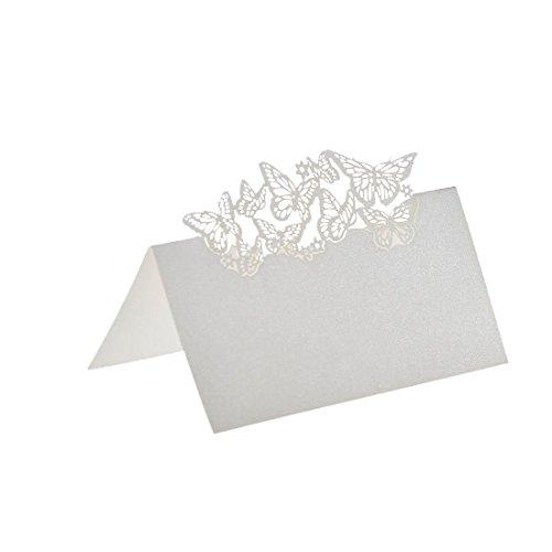 50 Schmetterlinge Laser Geschnitten Namen Platz Karten Hochzeitsgast Tischkarten Weiss